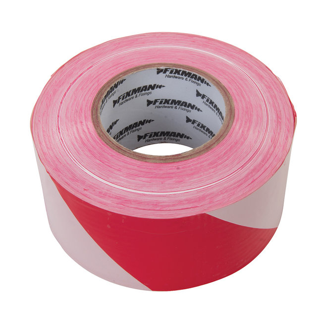 Fixman Afzetlint 70 mm x 500 meter, rood/wit
