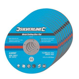 Silverline Platte metaal snijschijven, 10 pak 115 x 3 x 22,23 mm