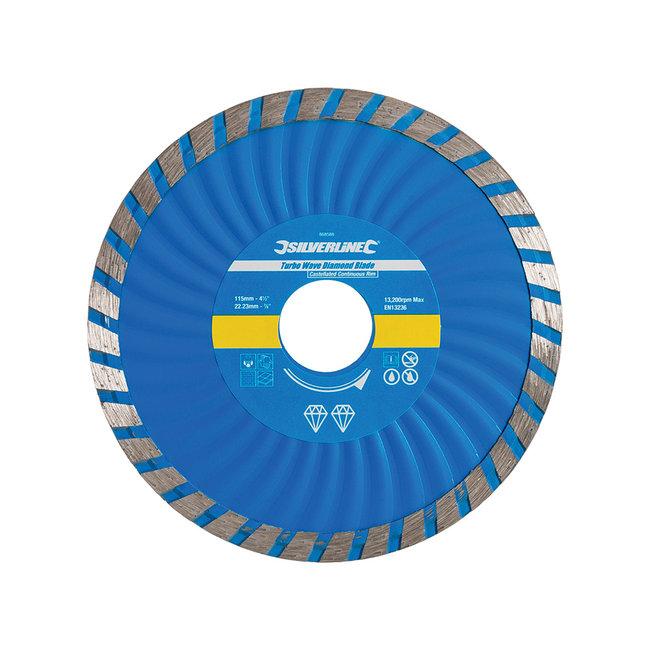 Silverline Diamant Turbo Wave snijschijf 115 x 22,23 mm, gesloten velg