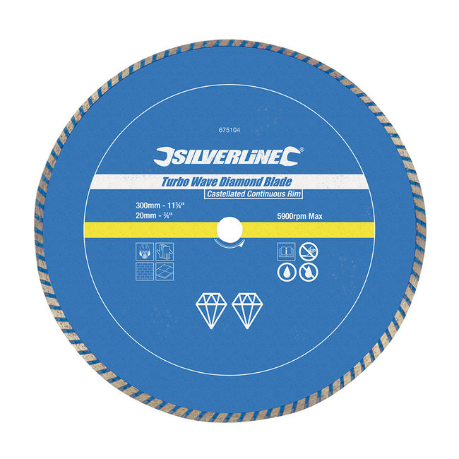 Silverline Diamant Turbo Wave snijschijf 300 x 20 mm, gesloten velg