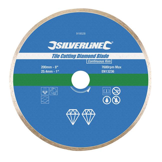Silverline Diamant tegel snijschijf 200 x 25,4 mm, gesloten velg