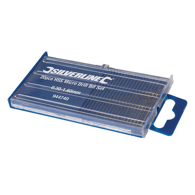 Silverline 20 delige HSS micro boor set 0,3 - 1,6 mm