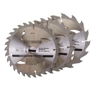 Silverline TCT cirkelzaagblad 16, 24, 30 tanden, 3 pak 150 x 20 - 16 en 12,75 mm ringen