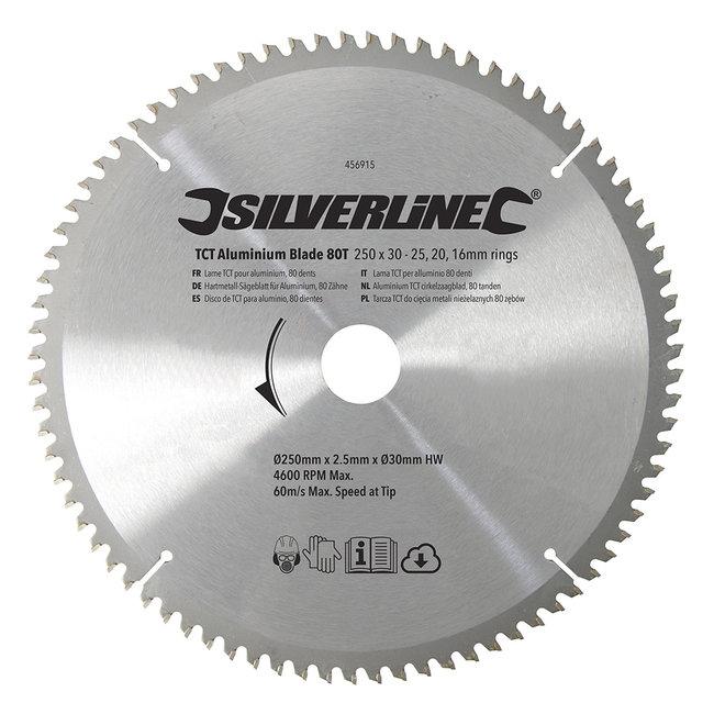 Silverline Aluminium TCT cirkelzaagblad, 80 tanden 250 x 30 - 25, 20 en 16 mm ringen