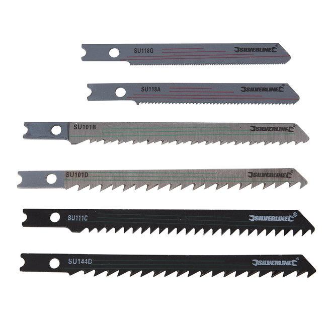 Silverline 30 delige decoupeerzaagbladenset, universele aansluiting hout/metaal