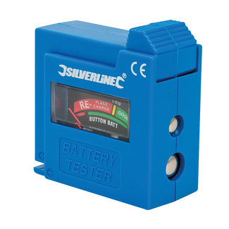 Silverline Compacte batterijtester AAA, AA, C, D, 9V, LR1, A23 en knopcel batterijen