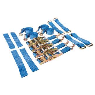 Silverline 16 delige autotransport sjorbanden set voor stalen en lichtmetalen velgen 3 m x 50 mm, vermogen 2000 kg, capaciteit 4000 kg