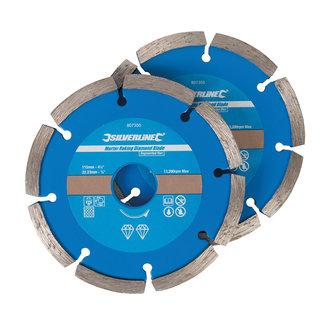 Silverline Diamant-blad voor het verwijderen van voegmateriaal, 2 stk 115 x 22,23 mm, gesegmenteerde rand