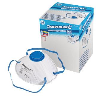 Silverline Gevormd FFP2 stofmasker met ventiel, enkel gebruik displaydoos, 10 pak FFP2, enkel gebruik