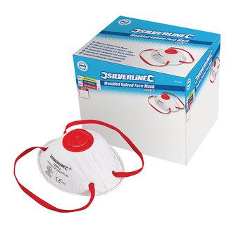 Silverline Gevormd FFP3 stofmasker met ventiel, enkel gebruik displaydoos, 10 pak FFP3, enkel gebruik