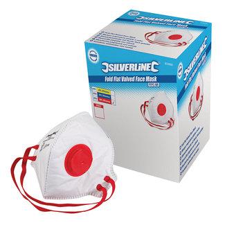 Silverline Plat vouwbaar FFP3 stofmasker met ventiel, enkel gebruik displaydoos, 25 pak