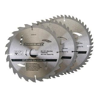 Silverline TCT cirkelzaagblad, 24, 40, 48 tanden, 3 pak 205 x 30 - 25, 18 en 16 mm ringen