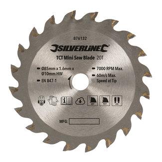 Silverline TCT mini zaagblad 85 mm diameter - 10 mm asgat - 20 tanden