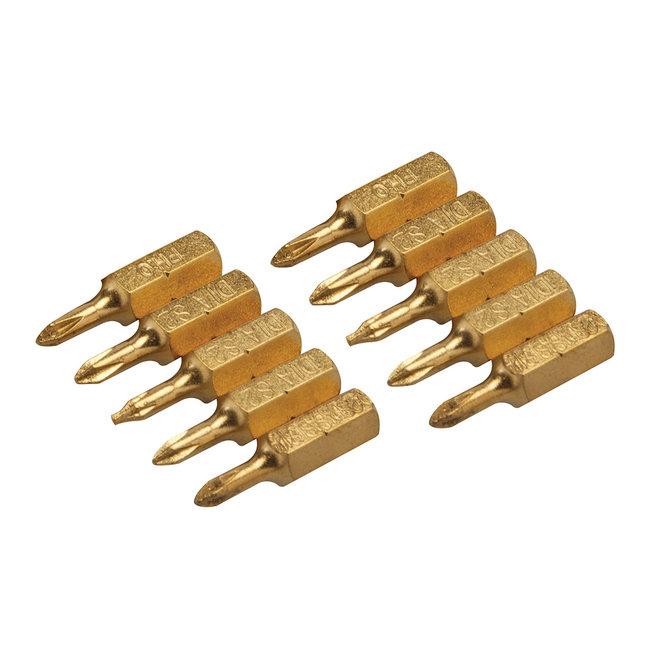 Silverline Diamant kruiskopschroevendraaier bits, 10 pak PH0