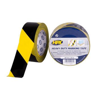HPX Zelfklevende hoogwaardige markeringstape  - geel/zwart 48mm x 33 meter