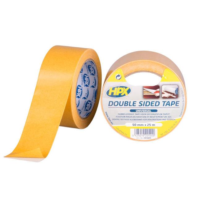 HPX Dubbelzijdige universele tape - wit 50mm x 25 meter
