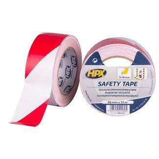 HPX Zelfklevende markeringstape - wit/rood 50mm x 33 meter