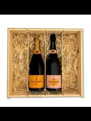 Veuve Clicquot Ponsardin geschenkkist met 2 flutes VCP brut & rose