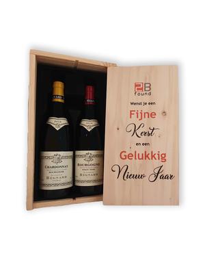 Regnard Bourgogne Wijncadeau in houten bedrukte kist