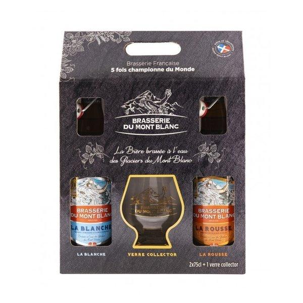 Brasserie du Mont Blanc BierBox Wit en Amber met glas