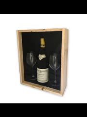 Régnard Bourgogne Régnard Bourgogne + 2 flutes in houten kist met glazen deksel