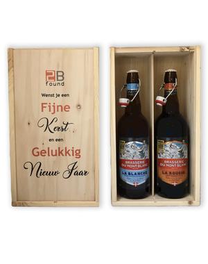 Du Mont Blanc Bierset Blond en vert in bedrukt kistje