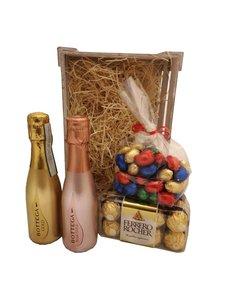 Bottega Paaspakket Gold & Rosë 20cl met Paaseitjes en Ferrero Rocher