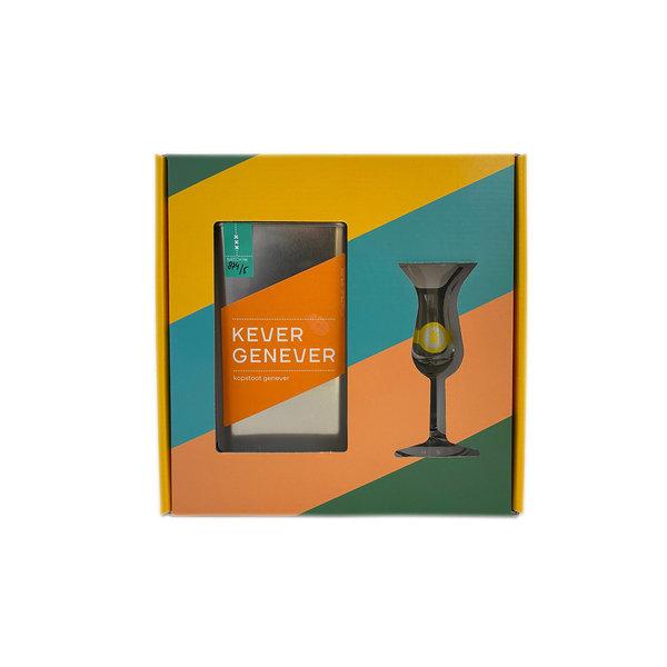 Kever Genever kopstoot met glas in Giftbox