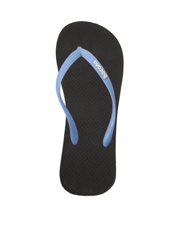 Black with sky blue flipflops