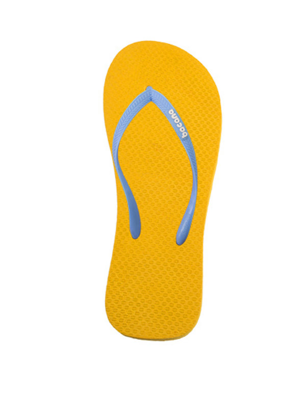 Sunglow yellow with sky blue blue flipflops