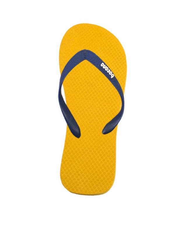Yellow with dark blue flipflops