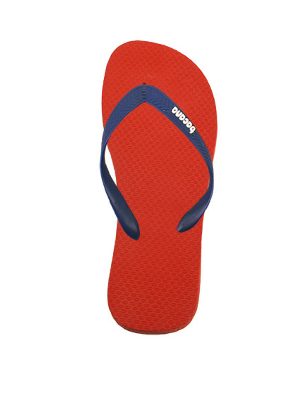 Orange red with midsummernight blue flipflops