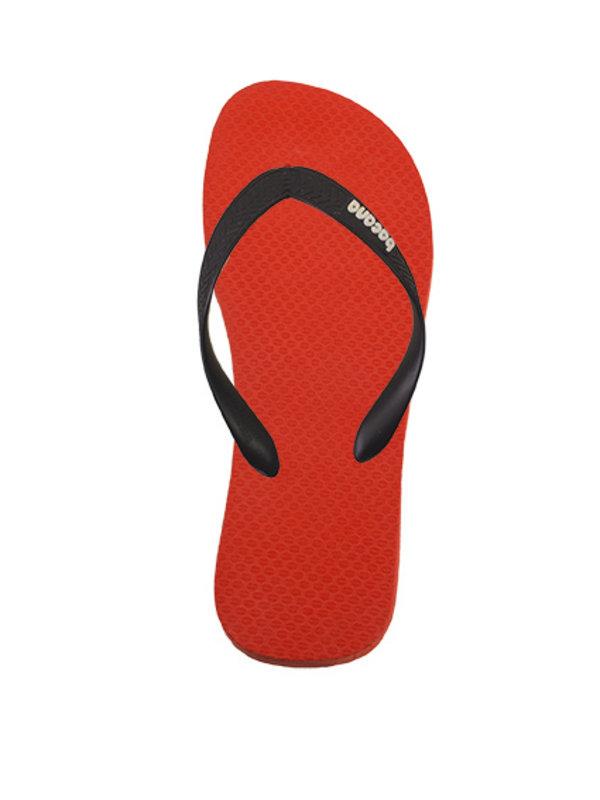 Orange red with midsummernight blue flipflops - Copy