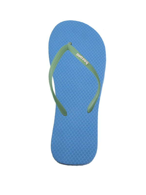 Sky blue with spring green flipflops