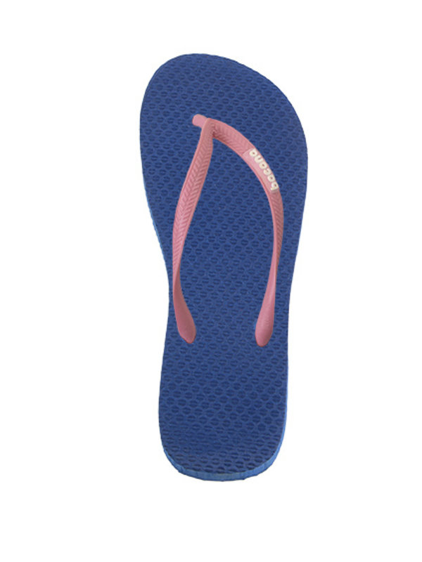 Donkerblauw met roze flipflops