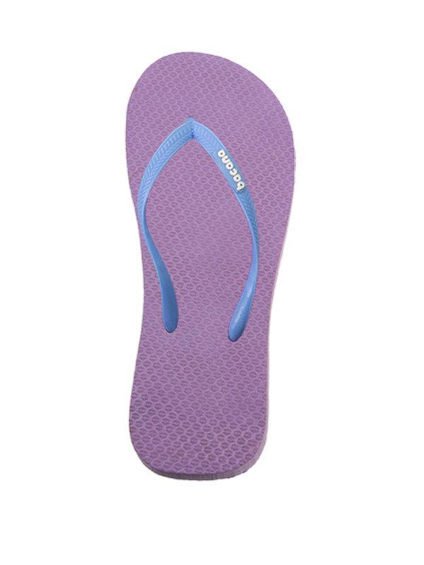 Purple with sky blue flipflops