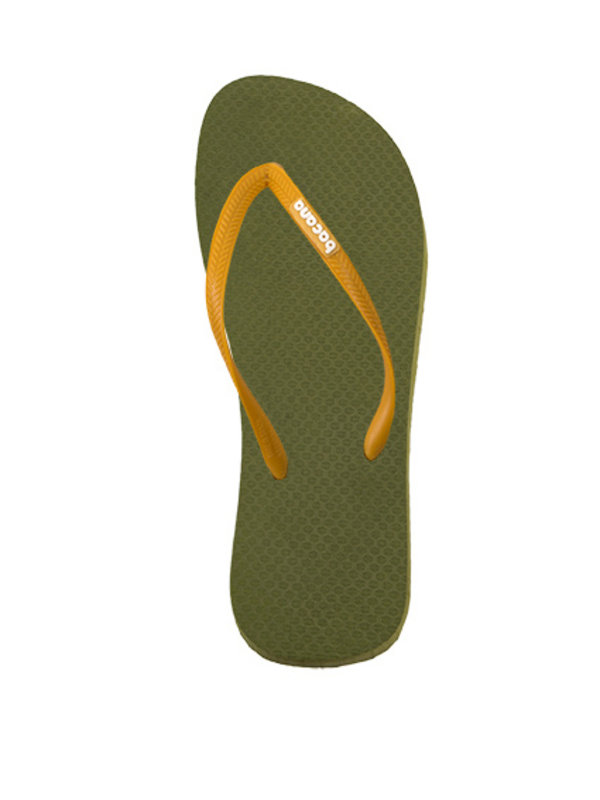 Jungle green with sunglow yellow flipflops
