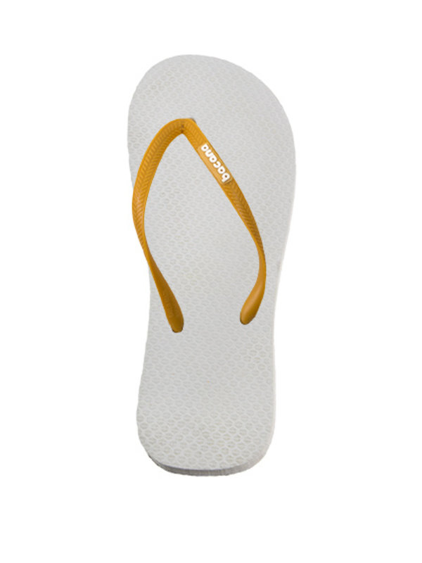 White with sunglow yellow flipflops