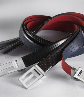 Black & Red Reversible Perforated Leather Belt