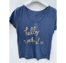 "T-shirt ""hello weekend"" blauw"