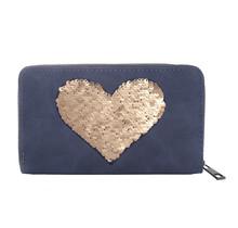 Portemonnee Sequins Heart blauw
