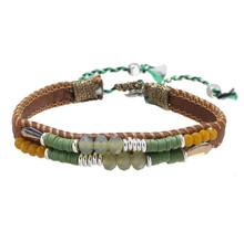 Armband leather Beads bruin- groen
