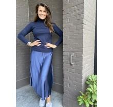Zijde rok blauw