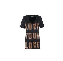 C&S T-Shirt Flora zwart/camel