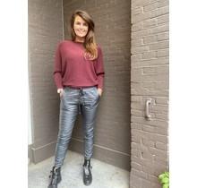 Leather look broek Shanon grijs