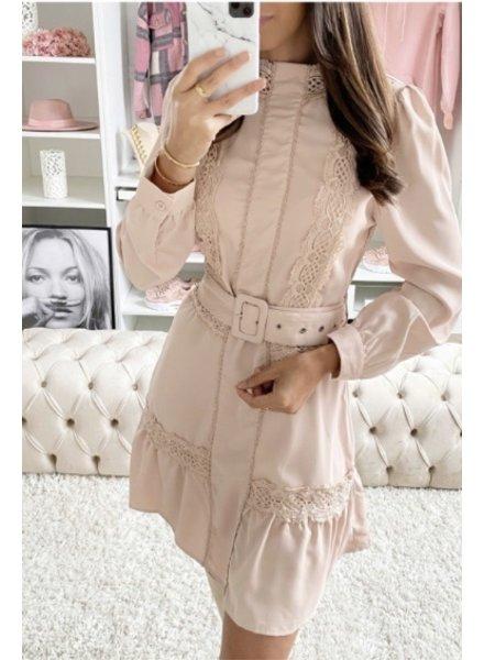 Beige Belted Dress