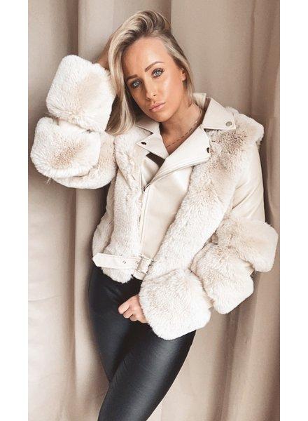 Beige Leather Fur Jacket
