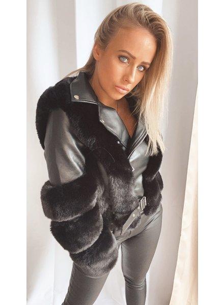 Black Leather Fur Jacket
