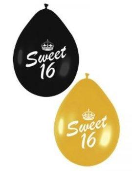 Ballonnen Sweet Sixteen Black/Gold
