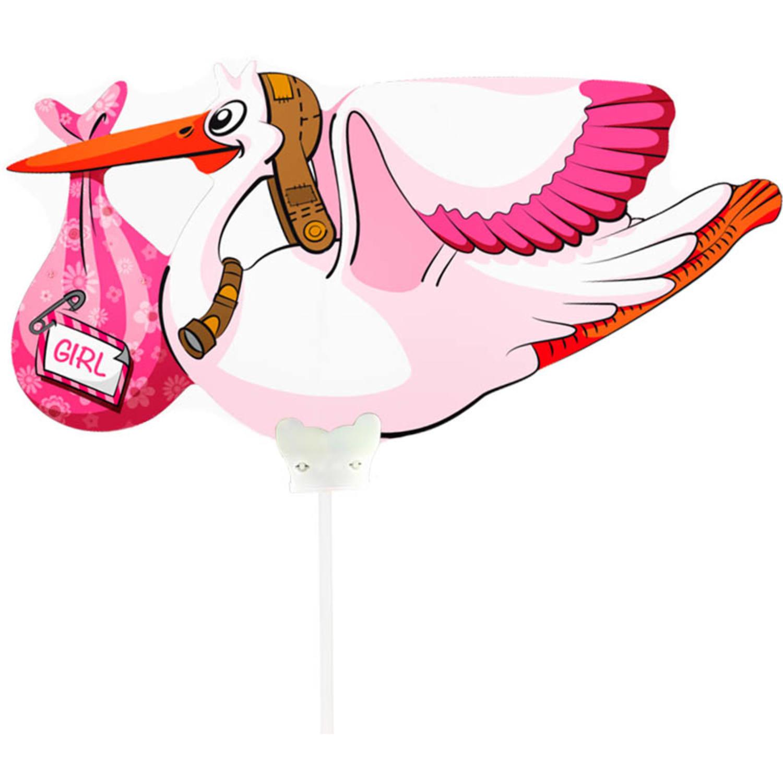 Follieballon Mini Geboorte Meisje op stokje